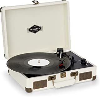 auna Peggy Sue • Turntable for Vinyl Records • Record Player with Speakers • Retro Style • USB-Port (B) • Digitization • Plug & Play • Portable Suitcase • Creme
