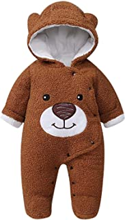 Newborn Baby Cute Cartoon Bear Warm Fleece Footed Hooded Romper Jumpsuit Snowsuit