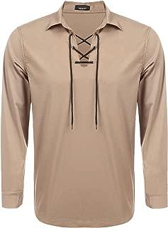 Mens Scottish White Jacobite Ghillie Kilt Shirt Casual Long Sleeve Lace Up Medieval Renaissance Pirate Costume Shirt