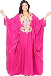 Moroccan Caftan Women Plus size Hand Made Caftan with Embroidery XXL to 4XL Magenta