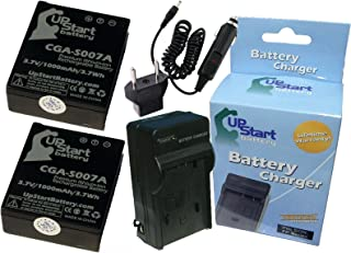 2X Pack - Panasonic LUMIX DMC-TZ3 Battery + Charger with Car & EU Adapters - Replacement for Panasonic CGA-S007A Digital Camera Battery and Charger - Works with DMC-TZ5, DMC-TZ4, DMC-TZ3, DMC-TZ1