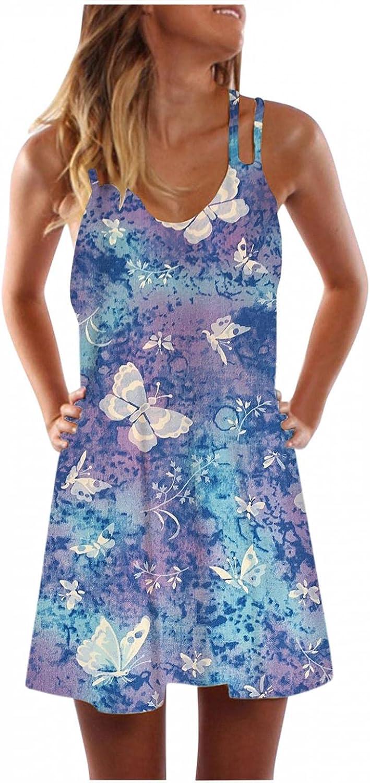 Gerichy Summer Dresses for Women, Womens Summer Tie-Dye V Neck Dress Adjustable Spaghetti Strap Casual Ruffle Dress