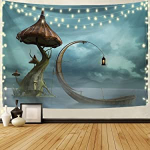 Joddge Mandala Tapestry Wall Hangings Mountain Tapestry Stars Tapestry Nature Landscape Tapestry for Bedroom Living Room Mushroom Decor Sofa Cover(59.1 X 59.1 inches)