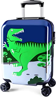 Lttxin Kids' Luggage 18 inch Polycarbonate Carry On Rolling Suitcae Hard Shell (Cute Dinosaur-Perfect Printing)