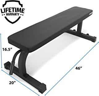 Synergee Flat Bench Workout Bench –Perfect for Pressing Exercises – Weight Bench for Dumbbell & Barbell Press Workouts – Great for Commercial, Garage and Home Gym
