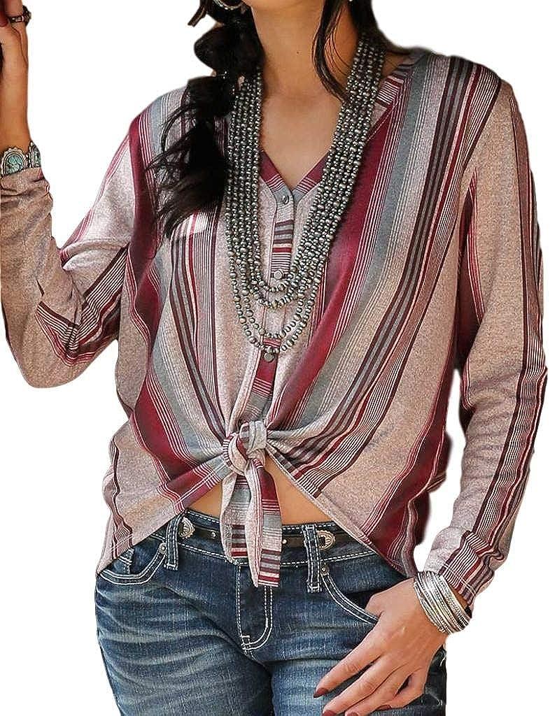 Cruel Girl Western Sweater Womens L/S Tie Front XS Pink CTK7319001