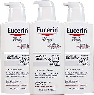 Eucerin Baby Wash & Shampoo - 2 in 1 Tear Free Formula, Hypoallergenic & Fragrance Free, Nourish and Soothe Sensitive Skin - 13.5 fl. oz. Pump Bottle (Pack of 3)
