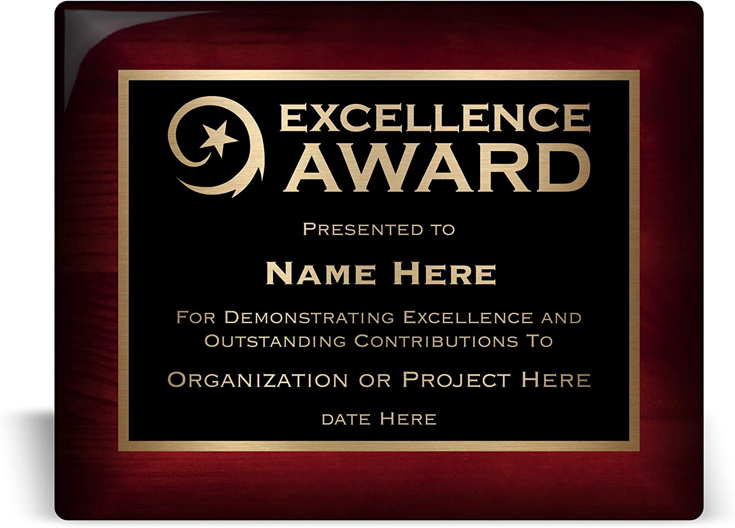 Excellence Award 10x8 Bargain Personalized 5 ☆ popular Plaque or for Perso Business