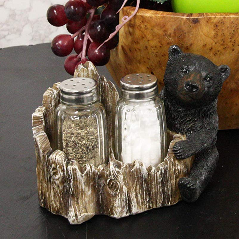 Ebros Rustic Woodland Black Bear Cub Hugging Tree Stump Figurine Display Holder With Glass Salt And Pepper Shakers Bears Home Kitchen Dining Decorative Statue 6 25 L Cabin Lodge Mountainside Decor
