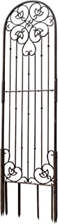 H Potter 8 Foot Tall Garden Trellis Wrought Iron Heavy Scroll Metal Decoration Lawn Patio and Wall Decor Screen for Rose Clematis Ivy Weather Resistant Patio Deck Wall Art X Large