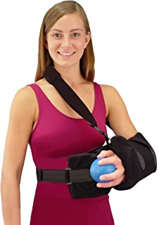 Universal Shoulder Rotator Cuff Sling Immobilizer with Abduction Pillow and Exercise Ball