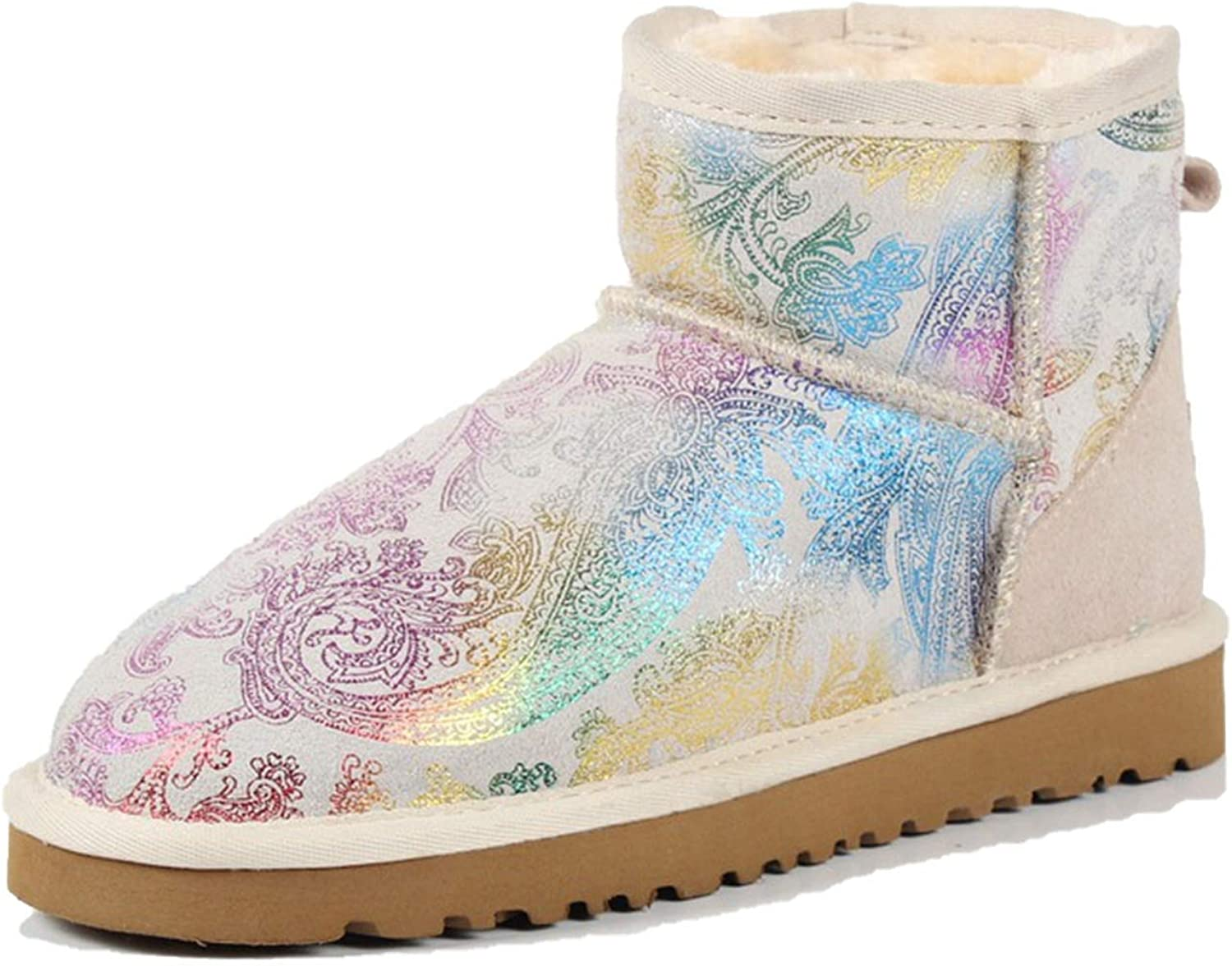 colorful-space Leather Ankle Boots Warm Winter Boots Large Size 35-42