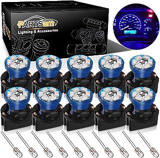 Partsam T10 194 168 Dash Instrument Blue LED Light Bulbs Bright Panel Gauge Cluster Dashboard LED Light Bulbs 10Pcs/Set with Twist Lock Sockets