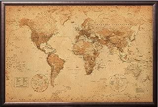 Vintage World Map Push Pin Travel Map Premium Copper Rust Finish Frame