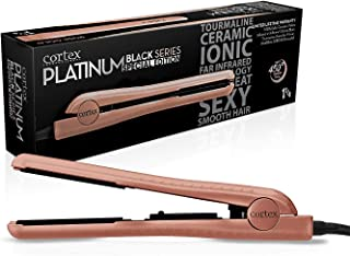 Cortex International Black Series Gemstone Infused Tourmaline Ceramic Plates 1.25 Inch Professional Flat Iron (Rose Gold) - Planchas De Cabello