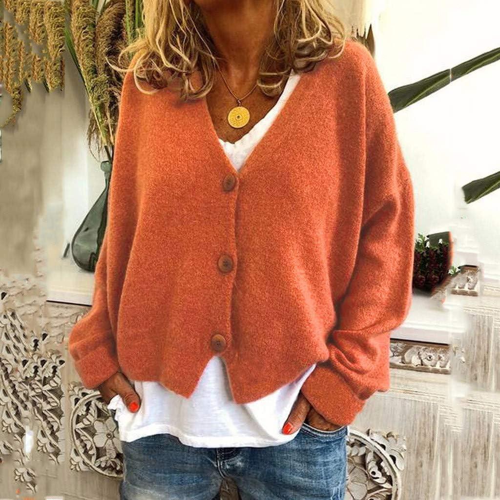 KaloryWee Frauen Solide Tasten Lässige Stretchy Strickpullover Strickjacke Mantel Damen Pullover mit V-Ausschnitt Casual Outwear Kurz Orange