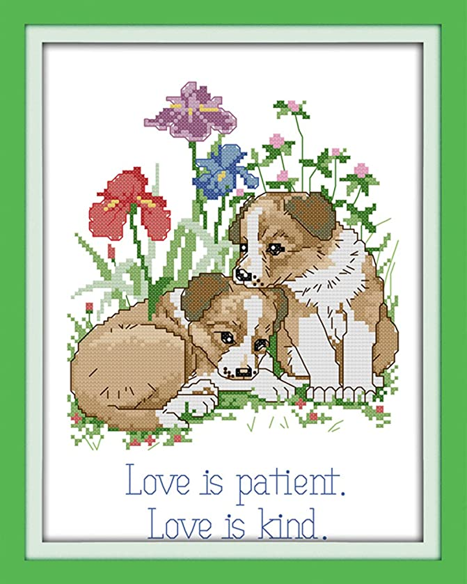 CaptainCrafts Hots Cross Stitch Kits Patterns Embroidery Kit - Dogs Everlasting Love (STAMPED)
