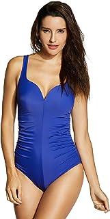 DELIMIRA Women's Plain Sweetheart Modest One Piece Swimsuit Bathing Suit