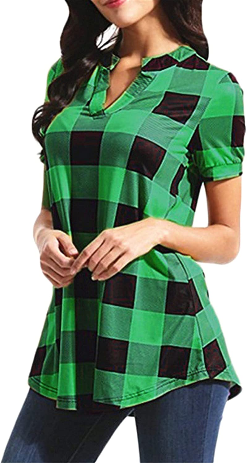Andongnywell Women's Casual Loose Plaid V Great interest Pl Cuffed Sleeves Neck overseas
