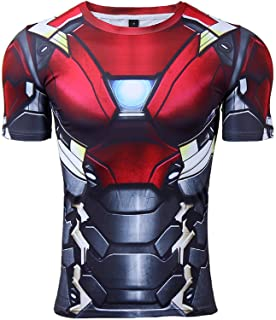 Mens Compression Shirt Iron Man 3D Printed T Shirts Fitness Tops