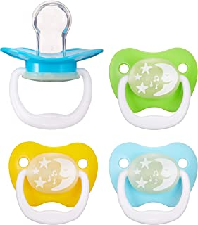 Amazon Brand - Mama Bear Glow-in-the-Dark Baby Pacifier, Stage 2 (6-12M), BPA Free, Assorted Colors (Pack of 4)