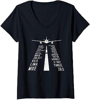 Damen Pilot Flugzeug Phonetic Alphabet Geschenk T-Shirt mit V-Ausschnitt