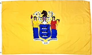 High Supply 3x5 Foot New Jersey Flag with 100% Polyester Fabric, Two Brass Grommets, and Double Stitched Edges, State Flag of New Jersey State Flag