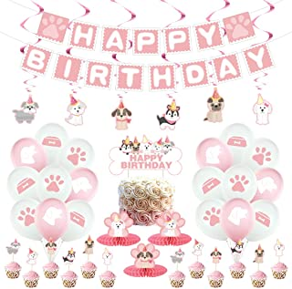 Dog Birthday Decorations,Dog Paw Prints Party Supplies for Girls Pink Lets Pawty Puppy Paw Themed Balloon , Banners, Cake ...