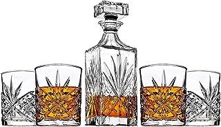 James Scott 5 Piece Crystal Decanter Set (Set of 5-25 Oz Decanter 4 X 11 oz. Glasses)