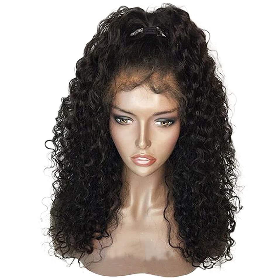 150% Density Curly 360 Lace Frontal Wig For Women Pre Plucked Brazilian Human Hair Wigs With Bleached Knots 5inch Parting,Natural Color,14inches