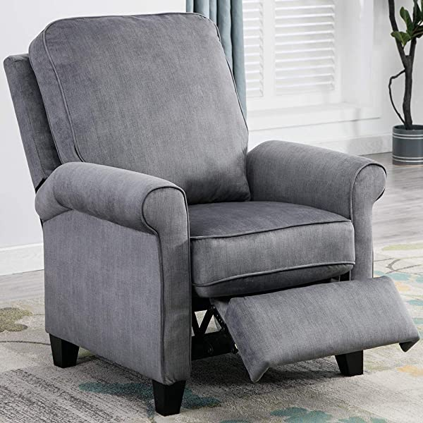 BONZY HOME Push Back Recliner Roll Arm Easy Push Mechanism Recliner Chair With Thick Seat Cushion And Backrest Modern Living Room Recliners Slate Gray