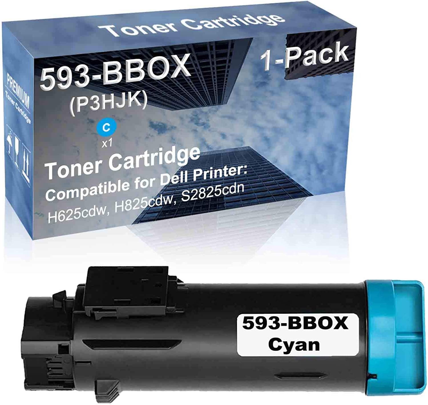 1-Pack (Cyan) Compatible H625cdw, H825cdw, S2825cdn Printer Toner Cartridge High Capacity Replacement for Dell 593-BBOX Toner Cartridge
