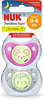 Nuk Night & Day, Glow in the Dark Trendline Silicone Soother 0-6Months, Assorted