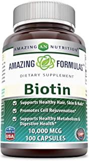 Amazing Formulas Biotin Supplement - 10,000mcg - 100 Capsules (Non-GMO,Gluten Free) - Supports Healthy Hair, Skin & Nails ...