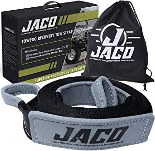 JACO TowPro Recovery Tow Strap (3 in x 30 ft) | 4x4 Trail Rated | AAR Certified Break Strength (31,518 lbs) | Heavy Duty Off Road Recovery Strap with Closed Loops | Emergency Towing Rope