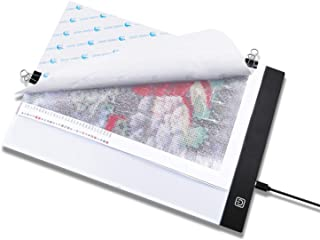 Keria A4 USB LED Light Board Ultra Thin Light Pad Light Box Apply to 5D Diamond Painting Artcraft Tattoo Watercolour Copy Quilting Tracing by Number Kit with Clips