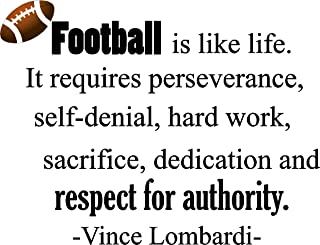 Epic Designs Football is Like Life. It Requires Perseverance, self-Denial, Hard Work, Sacrifice, dedication Inspirational Football Coach Wall Quotes Art Sayings Vinyl Decals Stickers