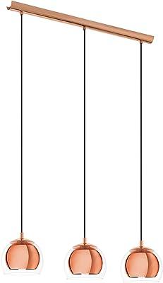 EGLO lámpara colgante E27, Kupfer/Transparent, 78 x 19 x 110 cm