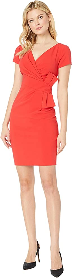 Bow Waist V-Neck Sheath Dress