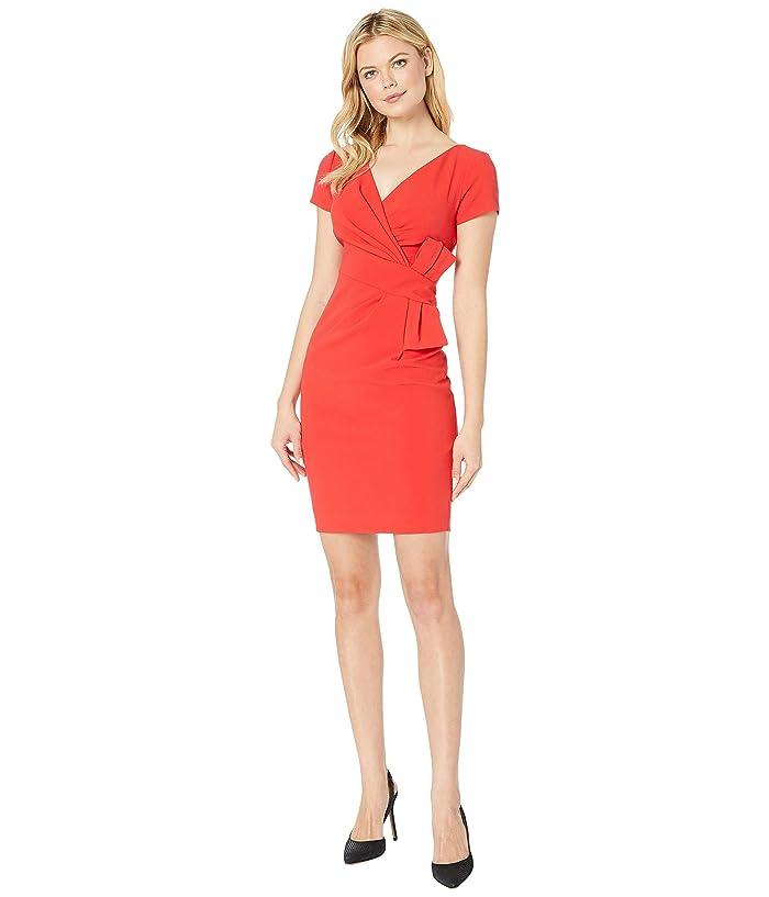Adrianna Papell Bow Waist V-Neck Sheath Dress (Red Polish) Women