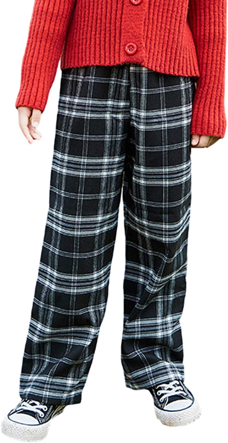 AMEBELLE Wide Leg Elastic Waist Plaid 1T-12Y To Max 43% Genuine OFF Cotton Pants for