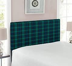 Ambesonne Tartan Headboard, Traditional Quilt Design Scottish Folklore Elements Plaid Pattern, Upholstered Decorative Metal Headboard with Memory Foam, for Twin Size Bed, Dark Green Black Dark Blue