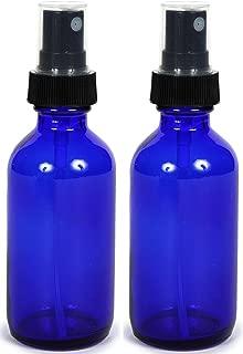 Cobalt Blue Glass Spray Bottle (2 oz, 2 pk) with Bonus Waterproof Labels, Fine Mist Sprayer, for Essential Oils, Colognes & Perfumes, Highest Quality