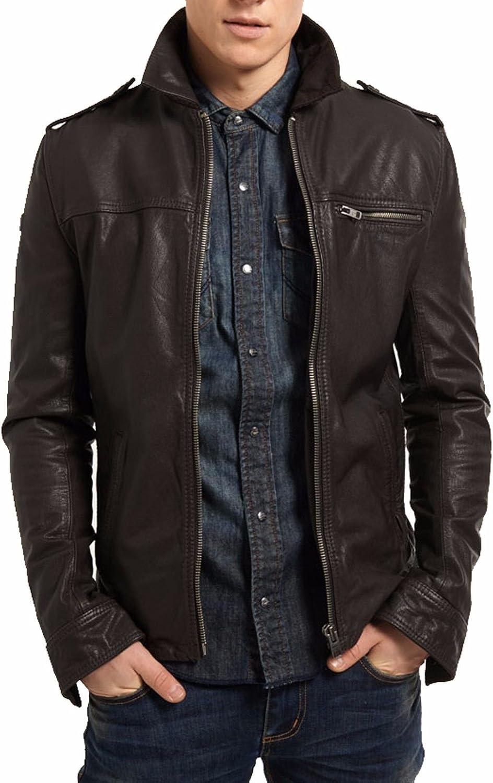 Brand Me Men's Genuine Leather Pure Lambskin Biker Jacket BM012