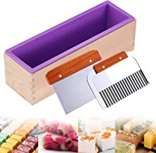 Ogrmar Silicone Soap Molds Kit-42 oz Wooden Silicone Soap Rectangular Mold with Stainless Steel Wavy & Straight Scraper fo...