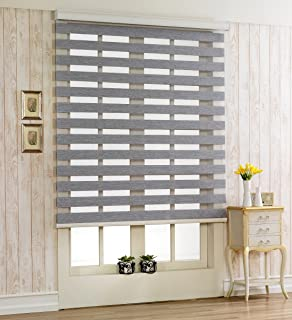 Foiresoft Custom Cut to Size, [Winsharp Woodlook 64, Grey, W 35 x H 64 inch] Horizontal Window Shade Blind Zebra Dual Roller Blinds
