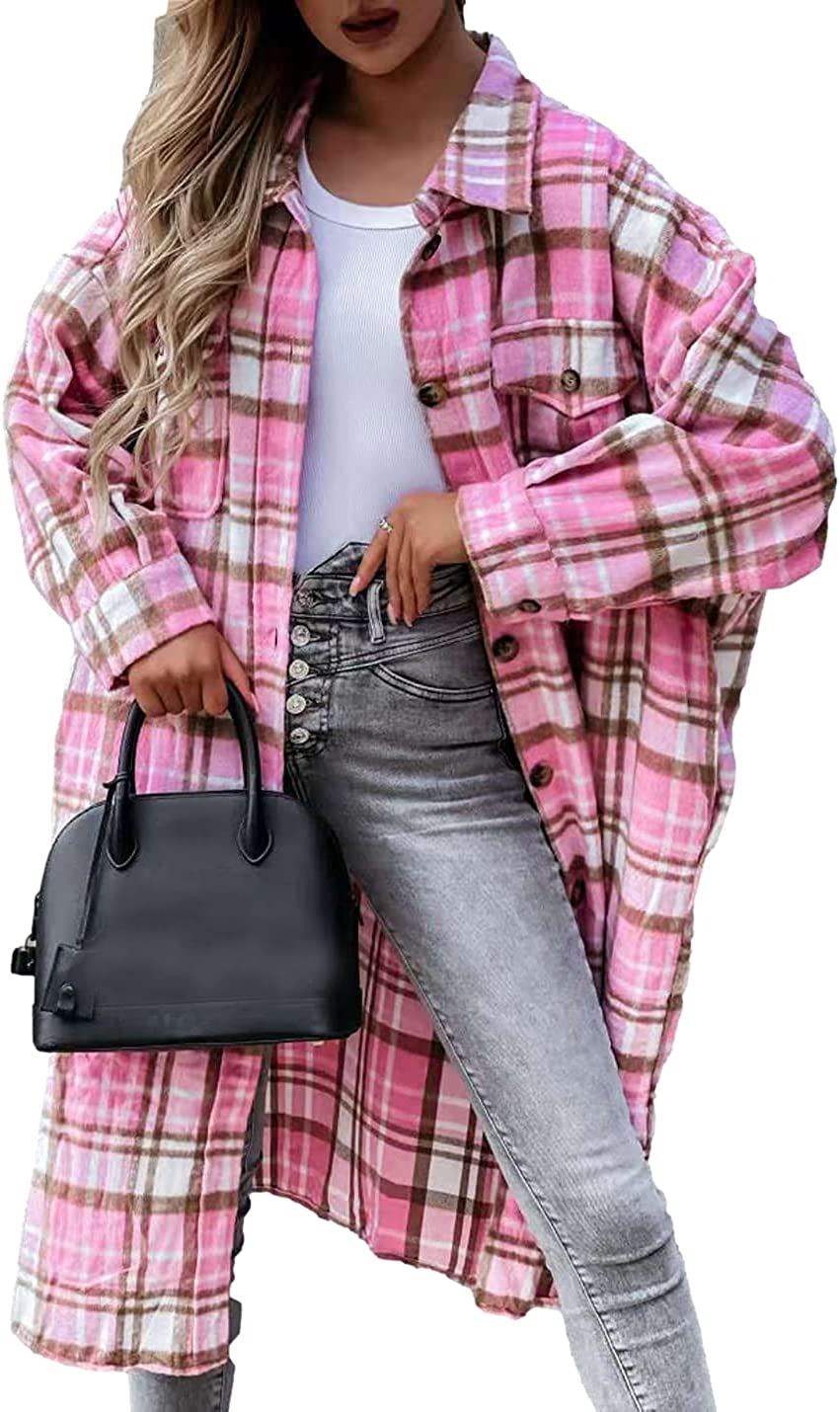 FindThy Women's Casual Plaid Coat Lapel Woolen Button Up Pocketed Long Shacket Winter Coats