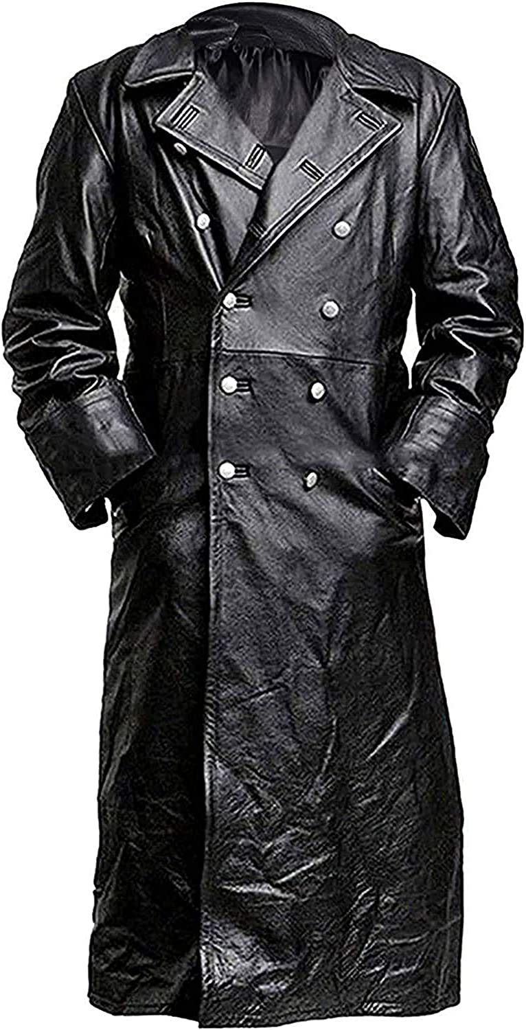 German Classic Military Officer WW2 Double Breasted Black Leather Trench Coat for Men