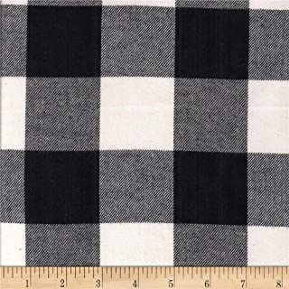 Textile Creations Windstar Twill Flannel 2in Buffalo Check Black/White Fabric by the Yard
