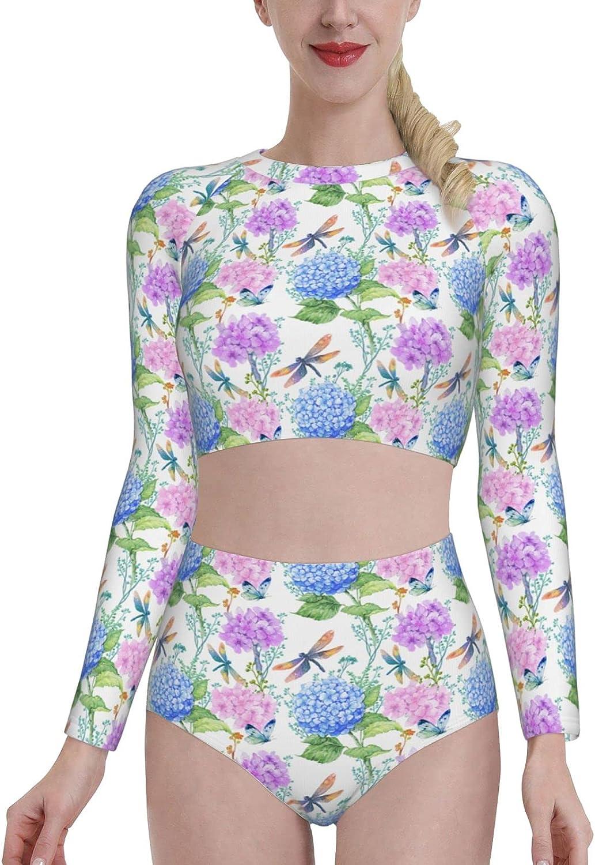 KUOAICY Beautiful Hydrangeas Dragonflies Women's Rash Guard Long Sleeve Bathing Suit with Bra Swimsuit High Waist Pants